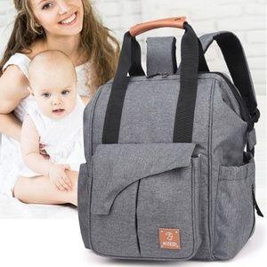 Grey Large Capacity Diaper Bag Outdoor Backpack